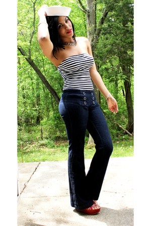 rainbow jeans - Miss Trish of Capri for Target wedges - striped top - cross brac