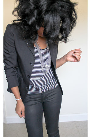 black diy studs vintage blazer - black H&M pants