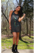 black combat boots - gray H&M dress - gold vintage accessories
