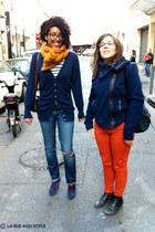 brown vintage bag - orange vintage pants