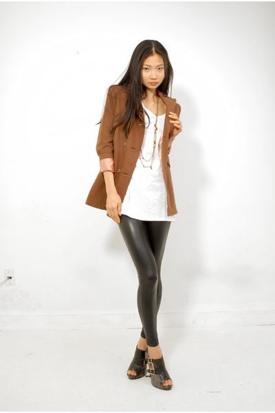 brown coat - black American Apparel leggings - black Sterling Shoes shoes