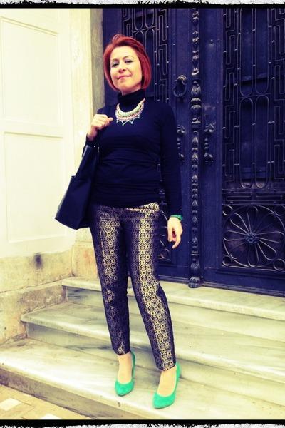 green flo pumps - black Mango bag - Twist necklace - olive green Zara pants