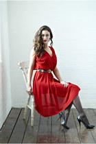 red DollsMaison dress - black 10 denier Primark tights