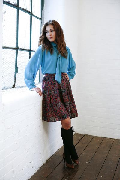 turquoise blue pussy bow DollsMaison blouse - black knee high H&M socks