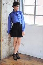 violet vintage silk lanvin blouse - black snake skin DollsMaison bag