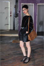 black reworked DollsMaison shorts - tawny snakeskin DollsMaison bag