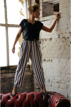 heather gray loose striped DollsMaison pants - black DollsMaison top
