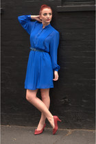 blue chiffon DollsMaison dress - ruby red bow DollsMaison shoes