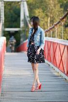sky blue Saba jacket - black layer dress decjuba dress