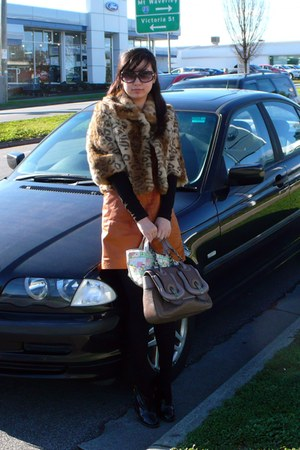 patenet leather Chloe boots - Gorman dress - vintage coat - fendi b Fendi bag -