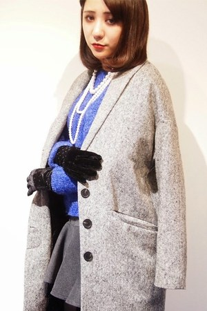 charcoal gray Dolly & Molly coat - blue Dolly & Molly sweater