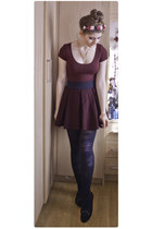 crimson Topshop skirt - maroon H&M dress - black new look pumps