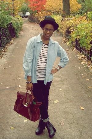 black platforms Urban Outfitters boots - black Glo jeans - black bowler H&M hat