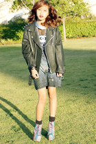 DIY  Thrifted Leather Jacket jacket - Cosmic Litas shoes