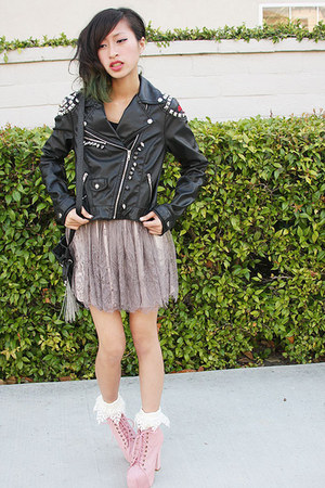 DIY x H&M jacket - chain bag Forever 21 bag - thrifted socks - gray lace skirt H