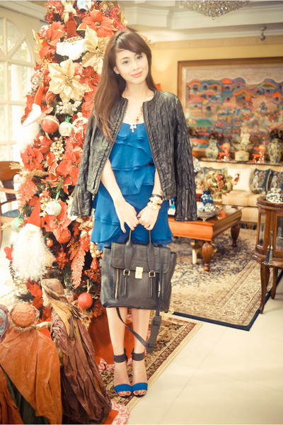 blue Charles & Keith shoes - blue Mango dress - black oath jacket