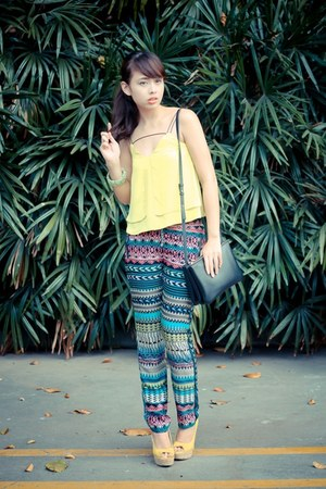 yellow H&M shoes - black Celine bag - blue Bershka pants