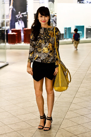 mustard Miu Miu bag - black Zara skirt - black Gold Dot heels - gold Mango top