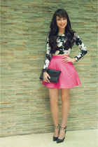 black YSL bag - hot pink Topshop skirt - black BCBG heels - black f21 top