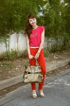 red Zara pants - gold YSL bag - hot pink Zara top - gold YSL heels