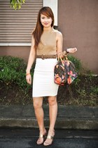light brown Chanel belt - dark brown Louis bag - ivory Miss Selfridge skirt