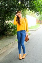 brown Givenchy bag - light orange Zara sweater - blue Topshop pants
