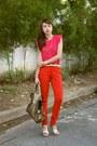 Gold-ysl-bag-hot-pink-zara-top-red-zara-pants-gold-ysl-heels