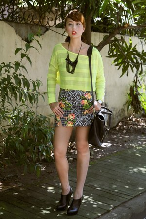 yellow Topshop skirt - black 31 Phillip Lim bag