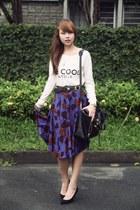 deep purple Sweet Shop skirt - ivory Mango sweater - black 31 Phillip Lim bag