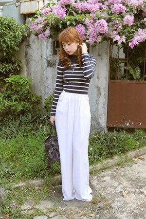 navy balenciaga bag - blue Zara top - white Bershka pants