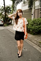 light orange Neon Island top - orange Chloe bag - black Mango heels
