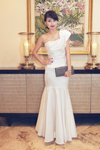 white Glitterati dress - silver YSL bag
