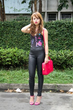 black Topshop leggings - hot pink Saint Laurent bag