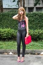 black Topshop leggings - hot pink Saint Laurent bag