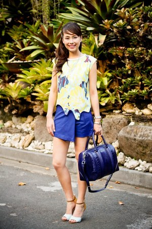 blue Zara skirt - navy Givenchy bag - light blue Follie heels - yellow Zara top