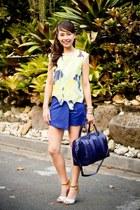 blue Zara skirt - navy Givenchy bag - light blue Follie heels - yellow Zara top