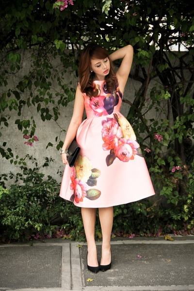 bubble gum christian dior dress - black YSL bag
