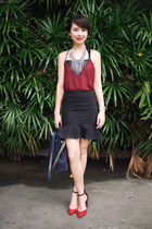 ruby red Zara shoes - navy Hermes bag - black Zara skirt - maroon Nava top