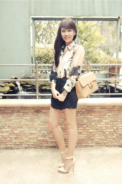 black Zara skirt - neutral Forever 21 shoes - neutral Chanel bag