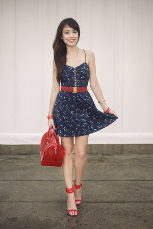 navy Forever 21 dress - ruby red Furla bag - ruby red ferragamo belt