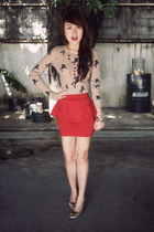 ruby red Zara skirt - gold Salvatore Ferragamo shoes