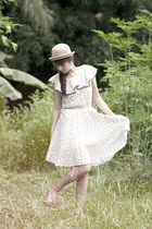 beige What A Girl Wants hat - brown What A Girl Wants dress - white accessories