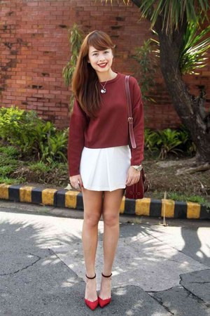 brick red sweater - brick red bag - brick red Zara heels