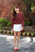 brick red sweater - brick red bag - brick red Zara heels