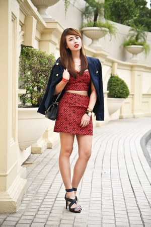 navy Mango blazer - black Chanel bag - red Forever 21 top - navy Zara heels