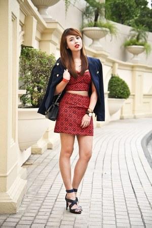 navy Mango blazer - black Chanel bag - red Forever 21 top - navy Zara heels