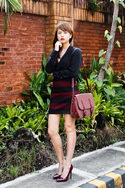 crimson goyard bag - crimson Zara skirt - black 7 for all mankind top