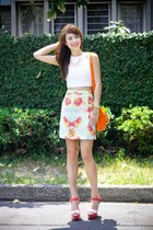 orange see by chloé bag - orange Zara heels - sky blue River Island skirt