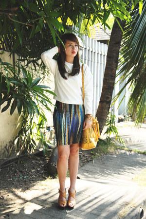 turquoise blue H&M skirt - mustard Miu Miu bag - ivory Mango top