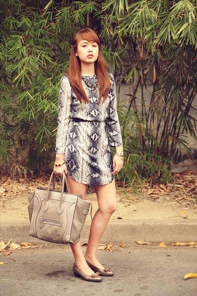 heather gray ferragamo shoes - black Topshop dress - heather gray Celine bag